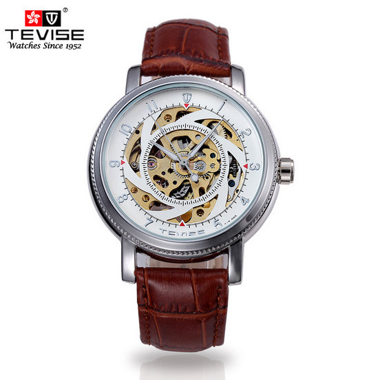 Automatic Self-Wind Original Brand Watch Hollow Men's Watch  Brown Leather Strap Steel Dial Waterproof Gift Watches A024 luxury mens binger new leather strap automatic self wind watches for men brown brand watch white dial digital wristwatch sales