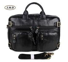 J.M.D Genuine Vintage Leather Unique Style Special Black Men's Briefcase Multi-Compartment Design Laptop Bag Shoulder Bag 7026A
