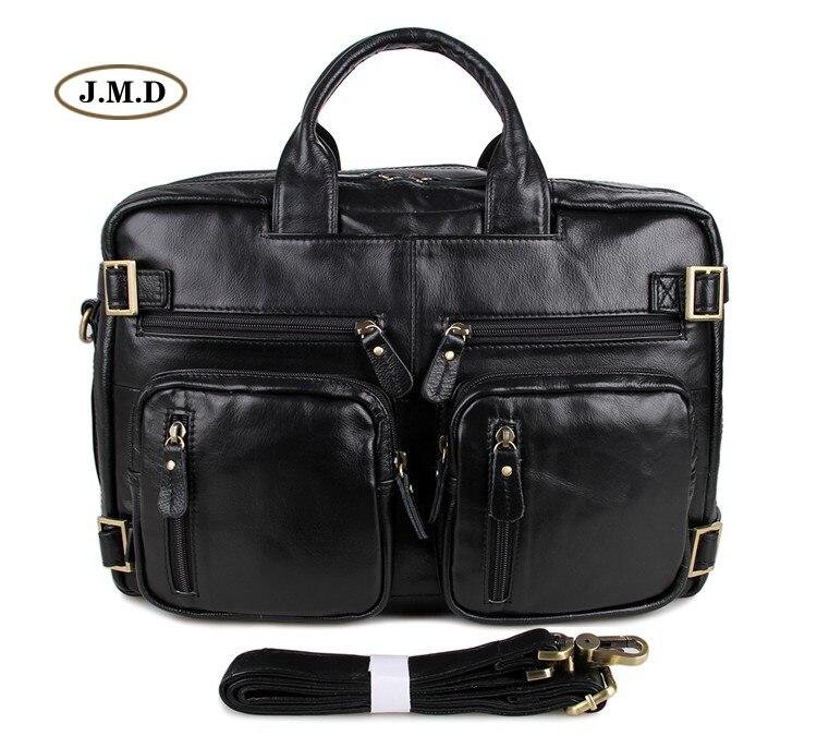 J.M.D véritable Vintage en cuir Style Unique spécial noir hommes porte-documents multi-compartiments Design pochette d'ordinateur sac à bandoulière 7026A