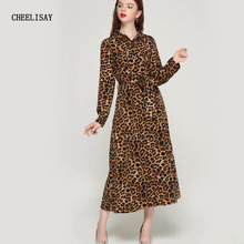 2019 women leopard print ankle length dress bow tie sashes long sleeve retro ladies casual chic dresses vestidos Free shipping
