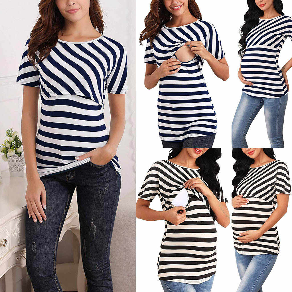 Women's Maternity Cloth Short Sleeve Stripe Tee Breastfeeding Pregnant T-shirt Nursing Top ropa mujer Maternity Clothing C613