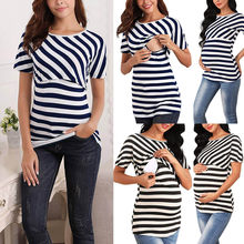 Women's Maternity Cloth Short Sleeve Stripe Tee Breastfeeding Pregnant T-shirt Nursing Top ropa mujer Maternity Clothing C613(China)