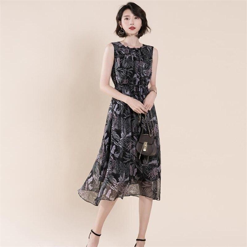 Femmes Soie Robe Surdimensionné Mid Black Robes Fold D'été Femme 100 veau Seda Lady La Taille Silk Dresses Couverture Plus Femelle xPXqwOZAfx