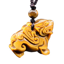 Drop Shipping Hand Carved Tigers Eye Stone Brave Troops Pendant Jade Stone Lucky Amulet PiXiu Necklace With Chain Fine Jewelry green stone boutique burma pixiu pendant jewelry gift 1