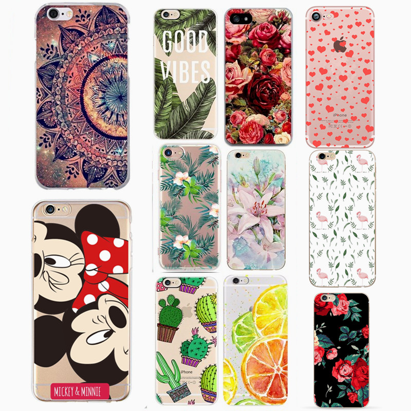 Silicone Cover Flower Case For iPhone X XS 6 6S 7 8 Plus 5 5S SE Soft TPU Cover Phone Cases Back Shell For iPhone XS Back Capa