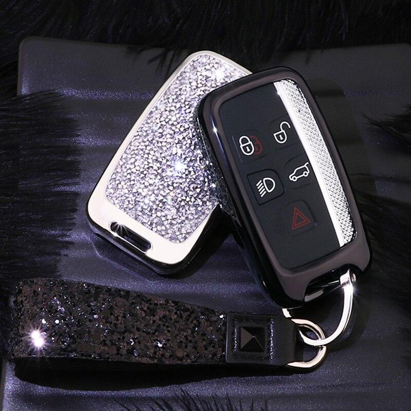 랜드 로버 레인지 로버 스포츠 evoque 프리랜더 재규어 자동 키 가방 커버 프로텍터 크리스탈 키 체인 용 크리스탈 자동차 키 케이스