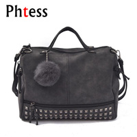 PHTESS Vintage Nubuck Leather Female Top Handle Bags Rivet Larger Women Bags Hair Ball Shoulder Bag