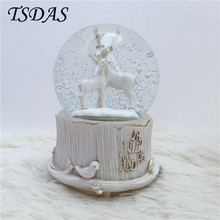 Snow Crystal Ball Music Box Christmas Gift Best Festival Decoration Luminous Elk Music Box