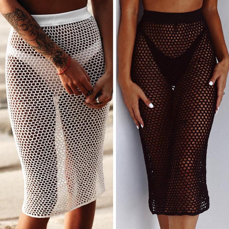 Crochet Fishnet Mesh Cover-Up Skirt