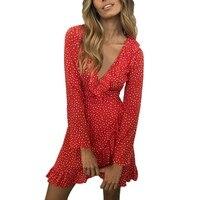Long Sleeve Dot Printed Boho Dress Bohemian Chic Women Deep V Neek Ruffles Short Dress Wrap