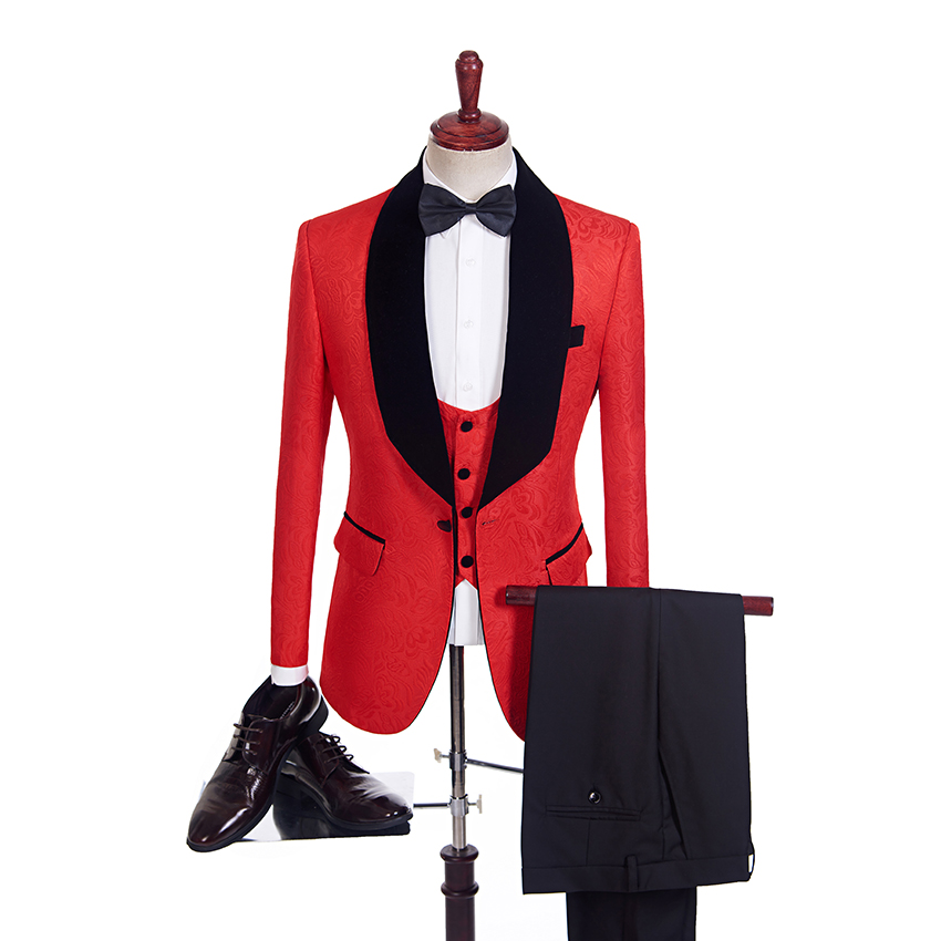 2018 3 Piece Black Velvet Shawl Lapel Groom Tuxedos Red/White/Black/Royal Blue Tailored Men Suits Wedding Best Man Blazer