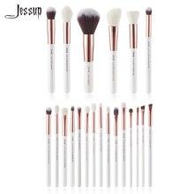 Jessup Bianco Perla/Oro Rosa spazzole di Trucco set kit di Bellezza Make up Pennello Eye Liner Shader Buffer Vernice Guancia evidenziare In Polvere