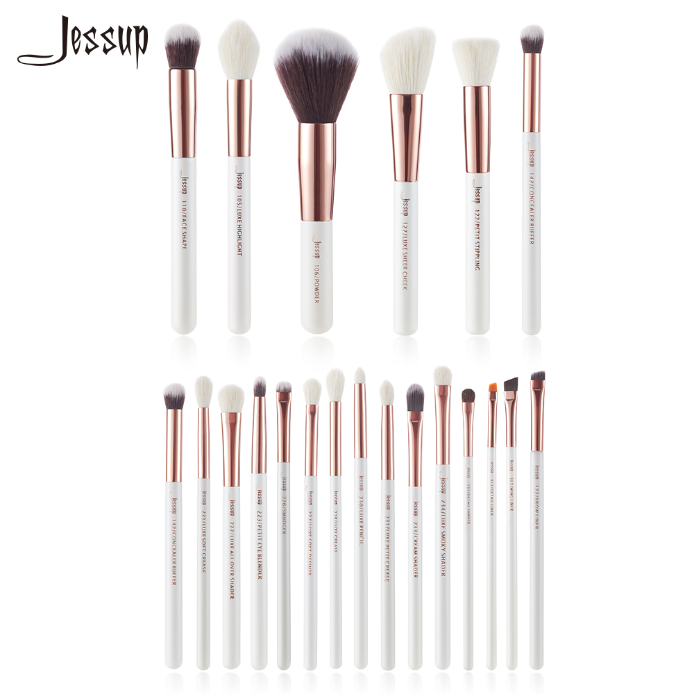 Jessup Branco Pérola/Ouro Rosa Makeup brushes set kits de Beleza Make up Escova Eye Liner Shader Buffer De Pintura Bochecha destaque Em Pó