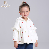 Simyke Jackets For Girls 2017 New Autumn Girl White Coat Childrens' Causal Jacket Kids Top Children Outwear Clothing D3392