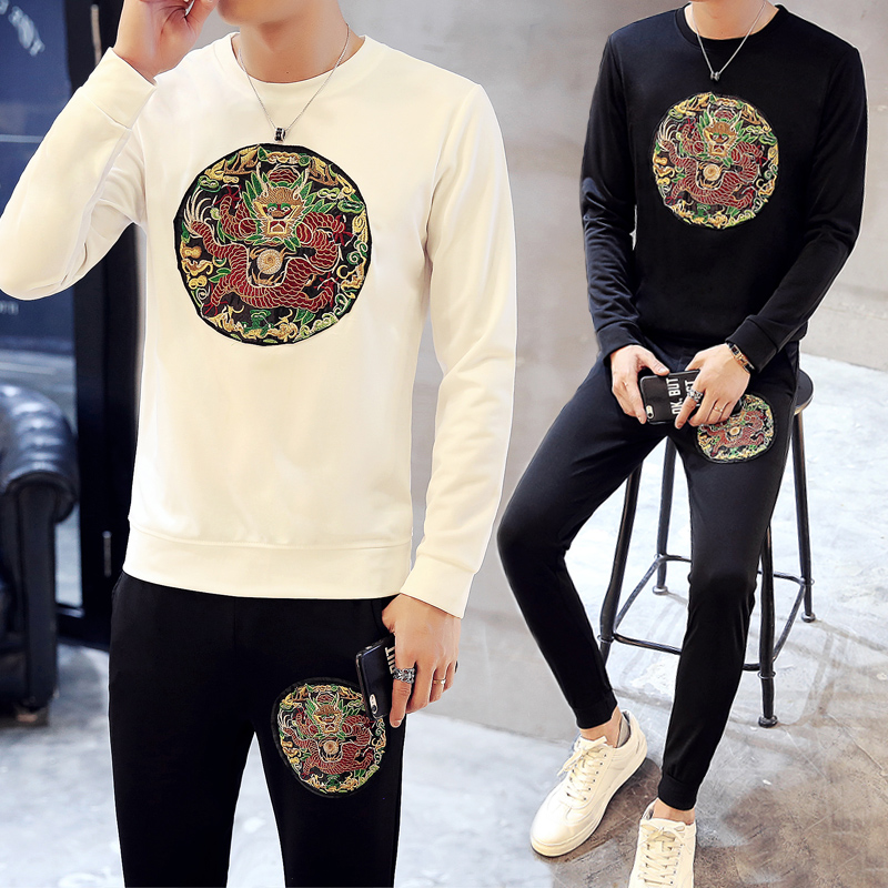 Loldeal Men Chinese Dragon Embroidery Trackstuis Letter Printed Sweatshirts Flower Sportwear Pants Set