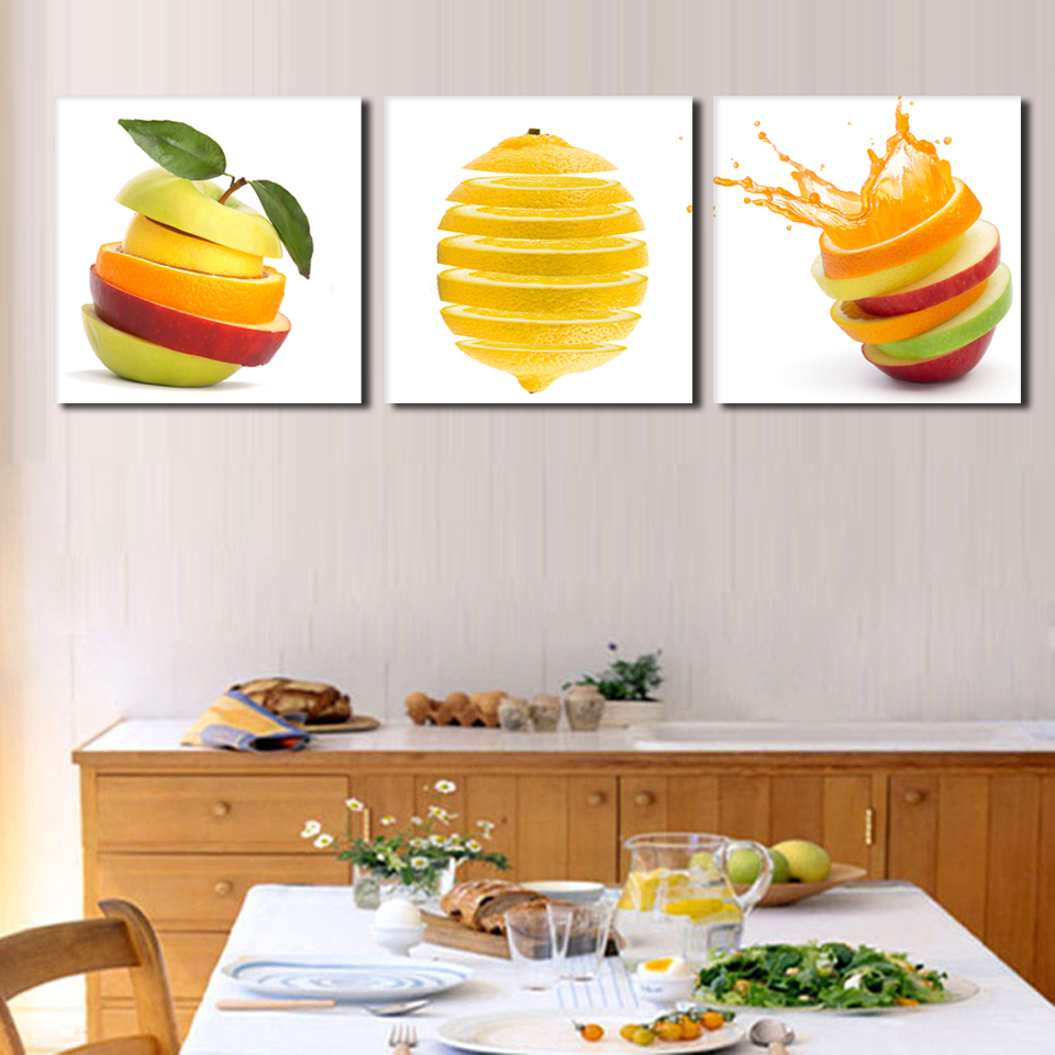 US $28.0 |3 pieces kitchen wall pictures fruit painting print on canvas  green apple and oranges cuts modern dining room decoration picture-in  Painting ...