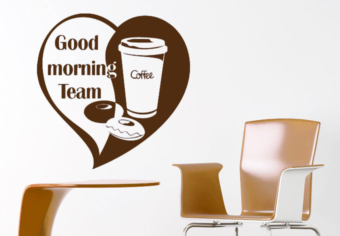 Good Morning Chinese Express : Good morning team coffee wall sticker love wallpaper