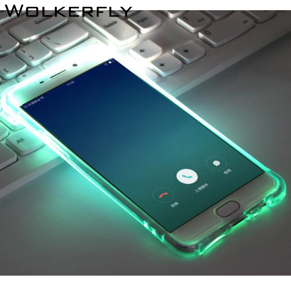 Fashion Called LED Flash Light TPU Case For Samsung Galaxy S6 S7Edge S8 Plus A3 A5 A7 J3 J5 J7 Prime Luminous Glitter ClearCoque ...