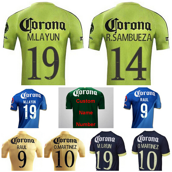 Mexico Club America Jersey Soccer 15 16 FC Miguel Layun Jersey Football J.MOLINA  Raul MICKY O.MARTINEZ L.MENDOZA P.AGUILAR 842455460
