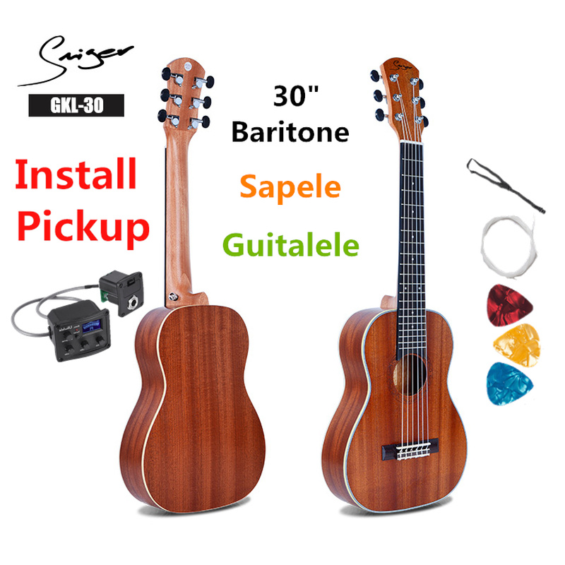 Guitalele Guilele 30 Inches Mini Electric Guitarlele Baritone Acoustic Guitars 6 Strings Ukelele Pickup Travel Guitar Music