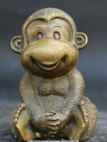 4.9 Antique Chinese Fengshui Bronze Lovable Animal Small Monkey Statue Statuary