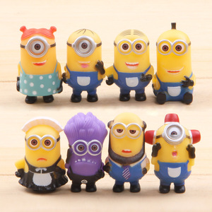Image 5 - 8pcs/lot Minion Miniature Figurines Toys Cute Lovely Model Kids Toys 5.5cm PVC Anime Children Figure