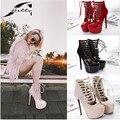 2017 NOVA Primavera Outono plataforma Sapato Mulher Noite calcanhar 16 cm Sapatos de salto alto Bombas plataformas Mulheres Sapatos Da Moda Tamanho Grande vermelho