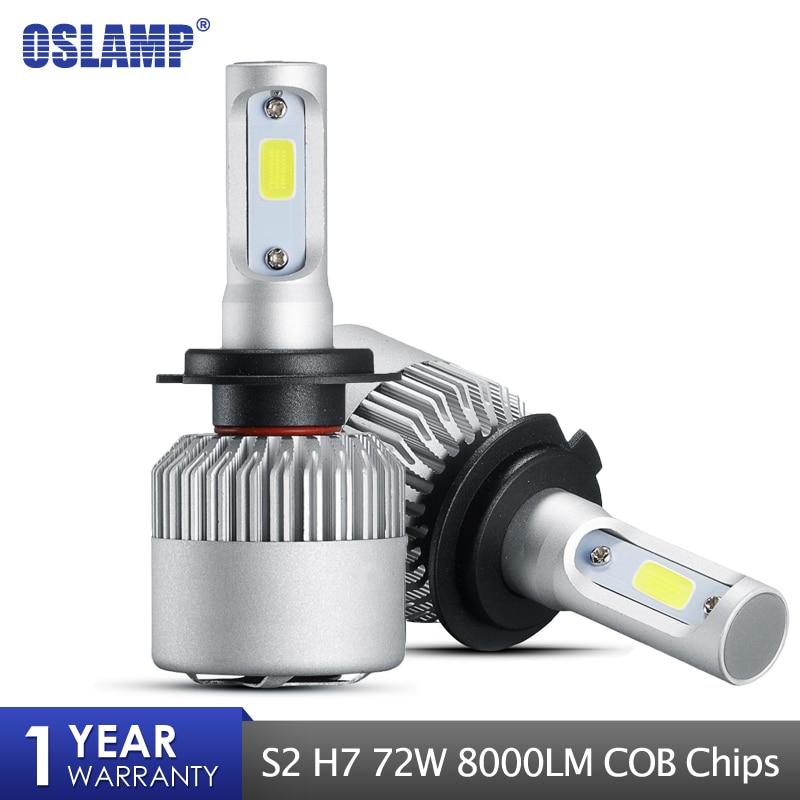 Oslamp H7 Single Beam COB Car LED Headlight Bulbs 72W 8000LM 6500K H7 Led Bulb HeadlightAuto Headlamp Fog Light Bulb DC12v 24v