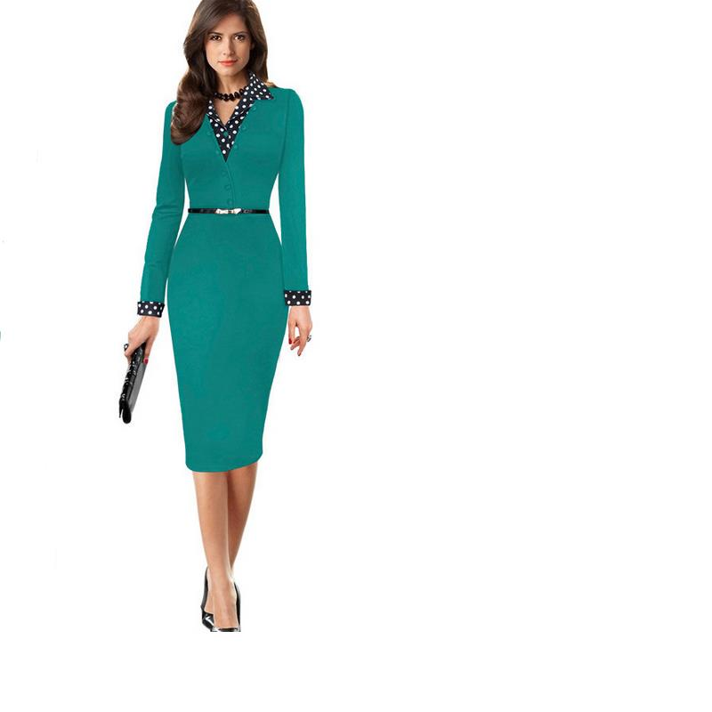 Retro summer style new fashion Ms. Bodycon dress V neck long sleeve high waist solid color knee pencil dress plue size Vestidos