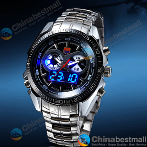 Image 5 - TVG Brand Luxury Stainless Steel Clock Digital Sports LED Watches Men 30M Dual Movements Waterproof Watches Relogio Masculino