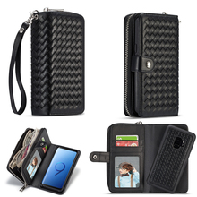 Multifunction PU Leather Zipper Wristlet Cash Clutch Wallet Cases Card pocket 2 in 1 Phone Case Back Cover For Various models