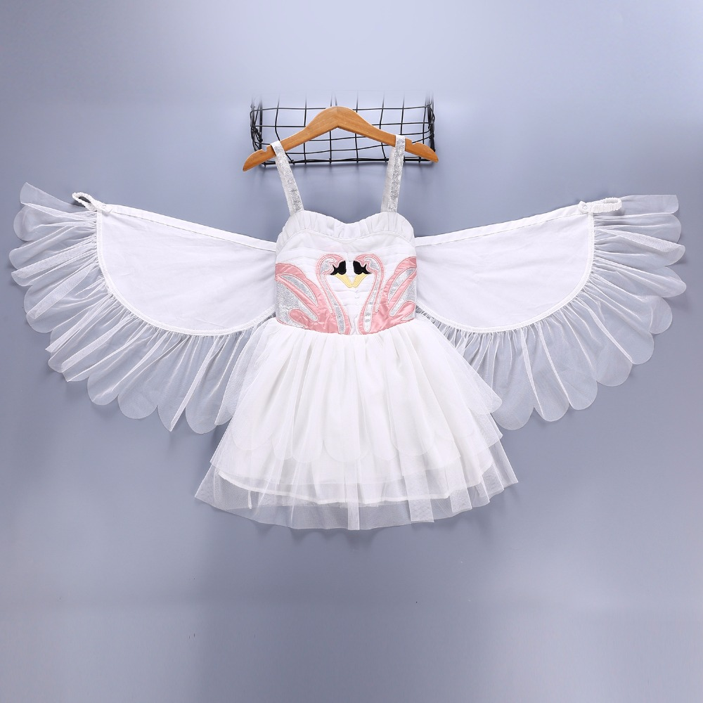 Angel Flamingo Princess Dress Slip Dress Anime Suit Girls Halloween Costume Swan Wings Show Dress