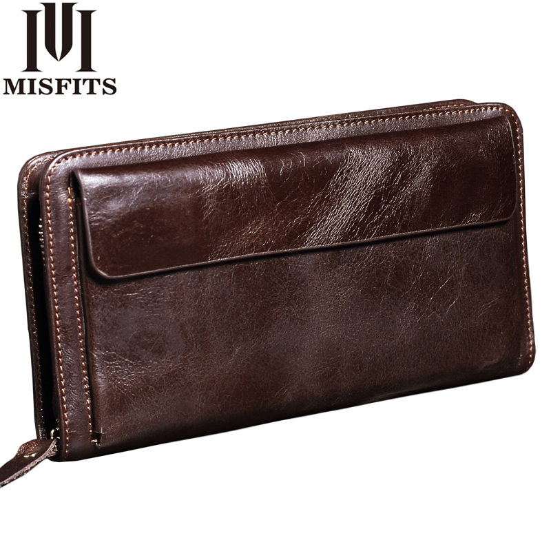 MISFITS NEW Men Wallet Genuine Leather Brand Vintage Organizer Wallets Male Clutch Bag Zipper Coin Purse Cell Phone Long Purse banlosen brand men wallets double zipper vintage genuine leather clutch wallets male purses large capacity men s wallet
