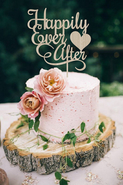 Wood Rustic Wedding Cake Topper Happily Ever After Topper for