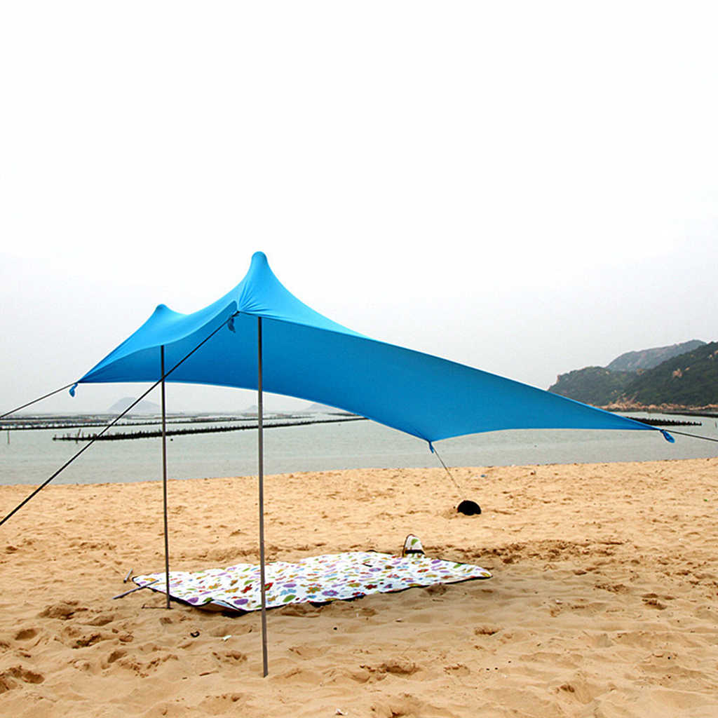 best website 5835c cc9bc Outdoor Waterproof Tent Camp Rain Shelter Sun Shade Picnic Beach Tarp with  Sandbags and Support Rods