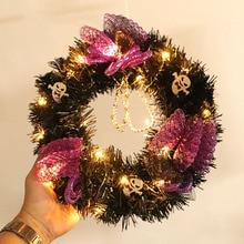 Creative Ghost Black PVC Halloween Tinsel Wreath With Skulls Purple Decorative Ornaments 30cm Diameter
