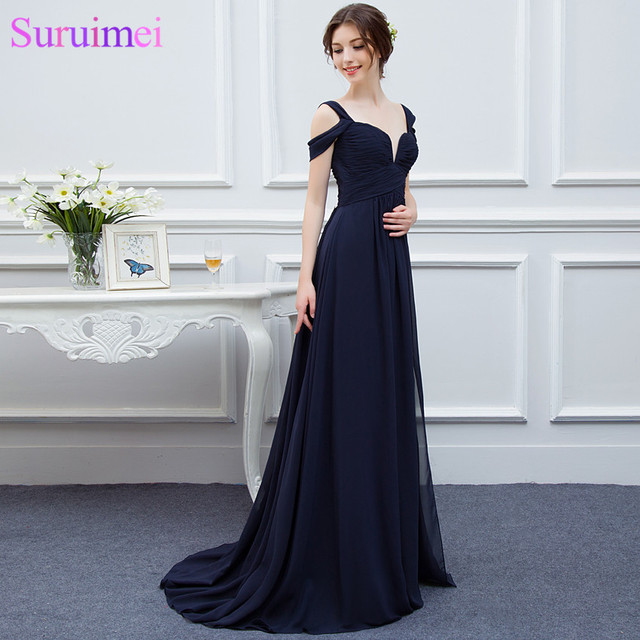 New Arrival Bariano Ocean Of Elegance Navy Blue Color Chiffon Long