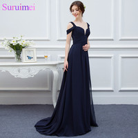 New Arrival Bariano Ocean Of Elegance Navy Blue Color Chiffon Long Events Prom Dress Women Gown