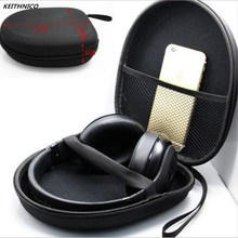KEITHNICO 1PC High Quality EVA Headphone Large Case Earphone Headset Zipper Portable Black Storage Box 1pc lot high quality black