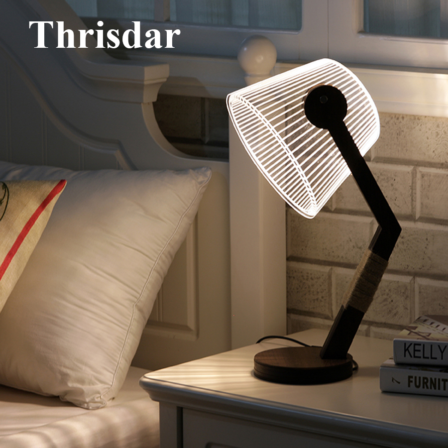 Thrisdar Creative 3D Vision LED Night Light Dimmable Table Lamp Bedroon Bedside Wooden Table Desk Lamp Hotel Gift Night Light spiderman shape night light 3d stereo vision lamp acrylic 7 colors changing usb bedroom bedside night light creative desk lamp