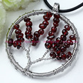 Argentina Rhodonite Garnet Red Coral Natural Stone Round Tree Of Life Winding Pendant Fashion Jewelry 1pcs