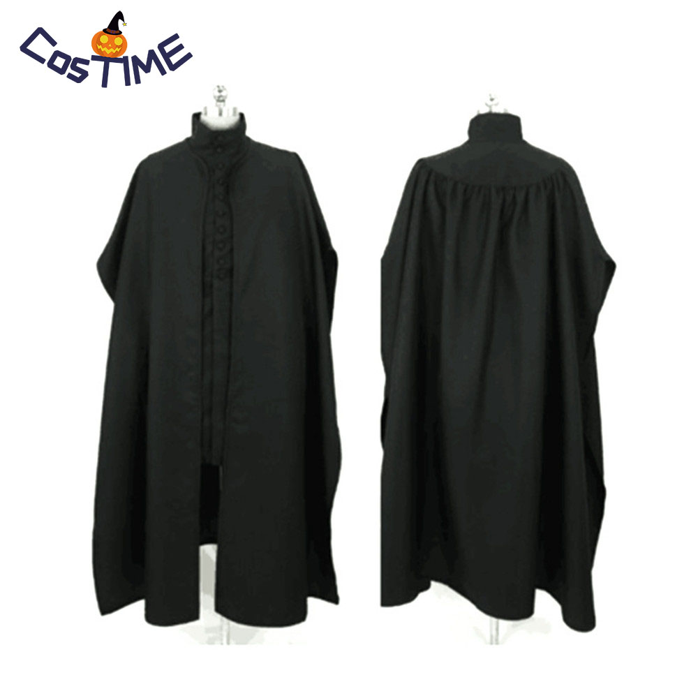 Professor Severus Snape Cosplay Costume Cloak Black Robe Adult Hogwarts School Deathly Hallows Halloween Party Clothes