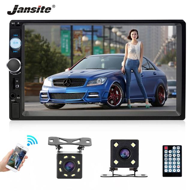 "Jansite 7 ""מלא HD 1080P רכב רדיו MP5 נגן DVD עם 8LED אור אחורי מצלמה מסך מגע Bluetooth מראה קישור 2 דין רכב סטריאו"