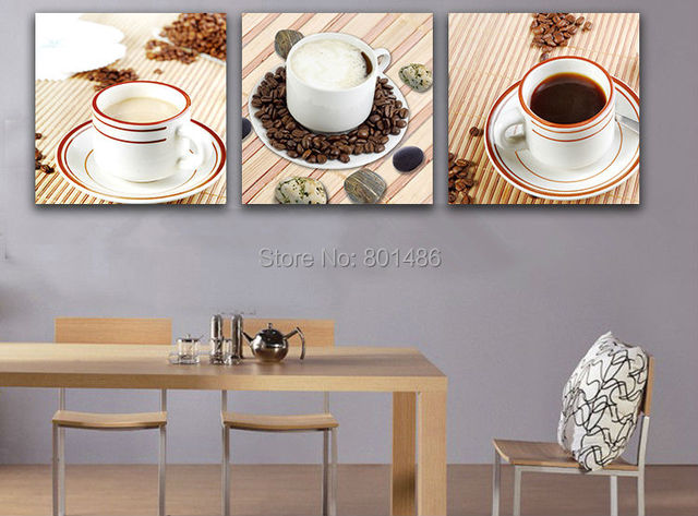 Kitchen Canvas Art Coffee Bean Cup Prints Wall Decor Modern Artwork Contemporary Pictures For Dining