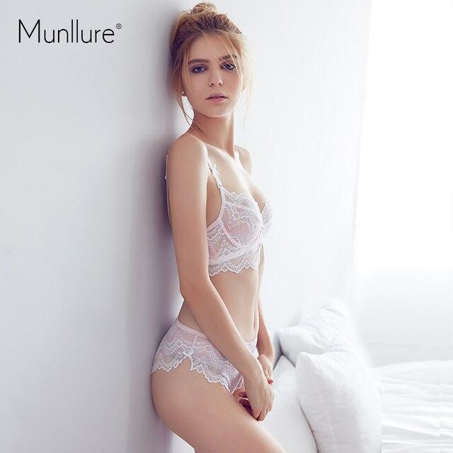 2016 Fresh and elegant ultra-thin cotton comfortable soft gauze lace underwear women bra set