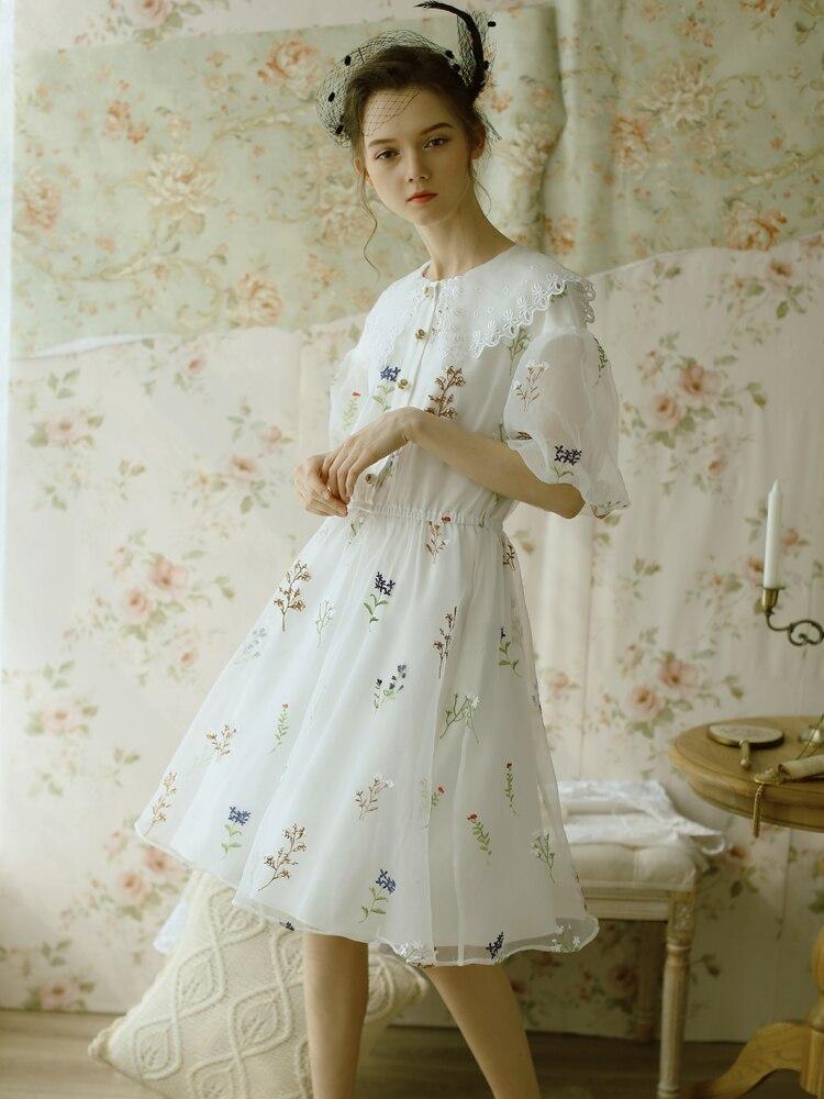 Blanc Robes Revers Femmes Broderie Vintage Lynette's Romantique Chinoiserie Mignon Français Grand D'été 8OPk0nw