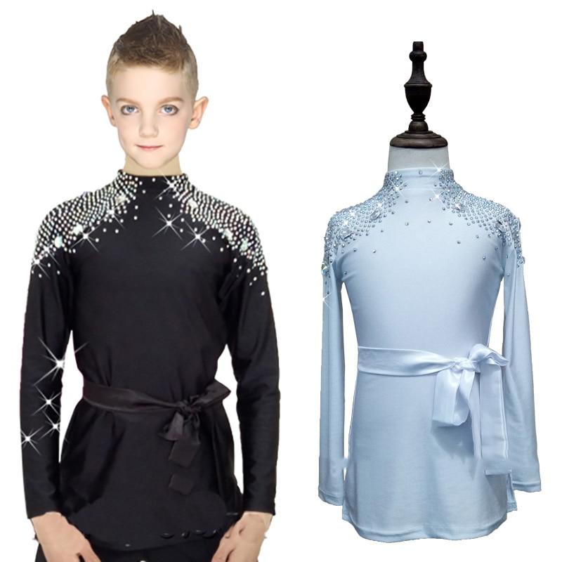 New Latin Dance Shirts Boys Children Black Fabric Rhinestone Shirt Ballroom Tops Boy Male Professional Competition Clothes N7001