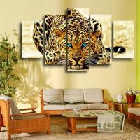 5 Pcs Yellow Abstract Leopards HD Wall Picture Decorative Art Print Painting On Canvas For Living