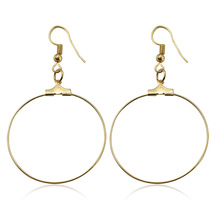 Women Trendy Big Elegant Zinc Alloy Stainless Steel Silver Gold Color Round Geometric Hook Hoop Earrings