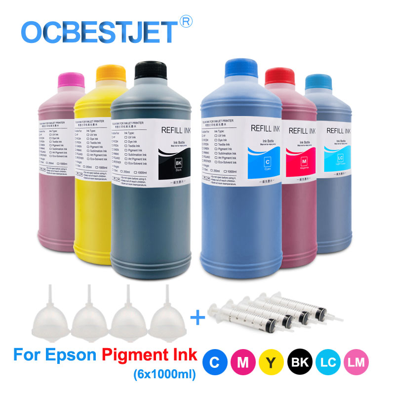 Ink Refill Kits Painstaking 6x1000ml Pigment Ink Bottle For Epson Stylus 1390 1410 1500w P50 P60 T50 T60 R290 R295 Rx615 Rx690 Rx700 L805 L800 Printer Ink Rich And Magnificent